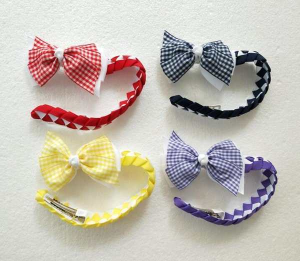 50pcs girl women Synthetic hair Bun wraps bows clips Ponytail Holder gingham plaid Donut Ring Head Wrap Hairband Headbands PD020