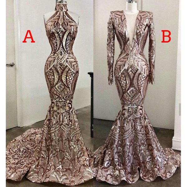 Black Girls Prom Dresses 2019 New Design Two Styles Mermaid Lace Sweep Train Vestido De Festa Plus Size Evening Gowns 2K19
