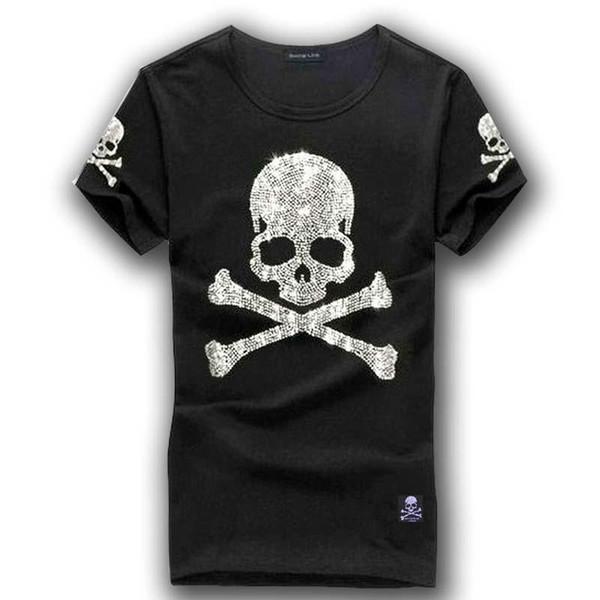 MMJ mastermind japan shining diamond rhinestone skull o-neck short-sleeve cotton t-shirt tee white and black color