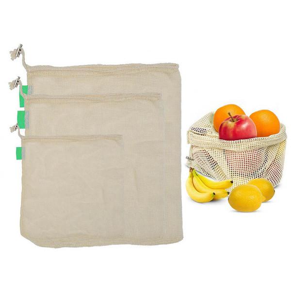 Reusable Produce Fruit Vegetable Bags Cotton Mesh Storage Bags for Potato Onion Market bag Shopping Bag Home Kitchen Organizer