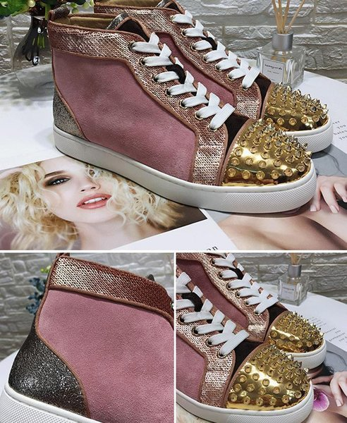 Top Designer Men Women Red Bottom Party Genuine Leather Glittery Bottom Studded Spikes Flats Shoes Fashion Party Wedding casual Shoes c14
