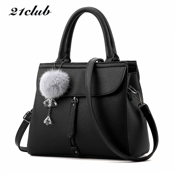 21club Brand Women Fur Ball Ornaments Totes Zipper Medium Handbag Hotsale Lady Party Purse New Shoulder Messenger Crossbody Bags C19032701
