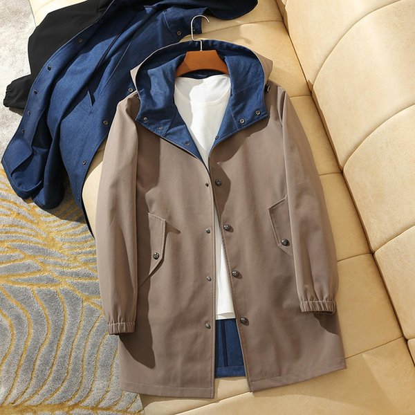 Light Luxury British Customized Blue Composite Inside Material Leisure Single-row Button Medium and Long Hat Windswear Coat for Men