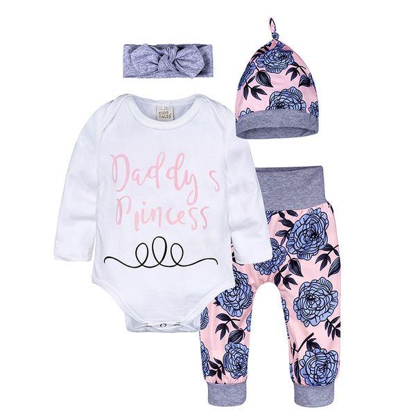 De los bebés recién nacidos Ropa tapas florales Romper pantalones Sombrero con banda de Equipos niños ropa 4pcs / set