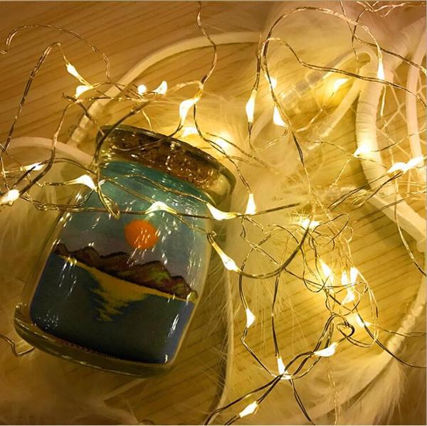 10 M 100 LEDs Luz Da Corda do DIODO EMISSOR de Luz Da Bateria de Vidro de Luz de Fio De Cobre De Vidro Para X-mas Festa de Casamento Decor10M 1000 LED Cortina Da Janela Icicl