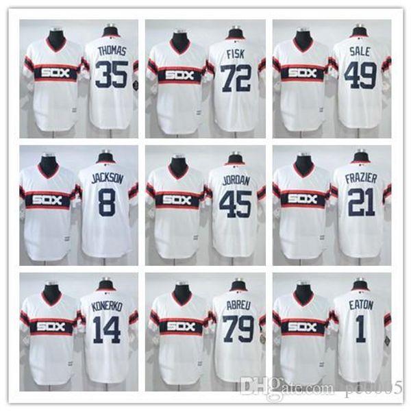 nuevo Hombres Chicago Jerseys FlexBase Jersey Gris Negro blanco saludo 10 yoyo 8 Jackson sox 49 Oferta 35 Thomas 45 Michael Béisbol color negro