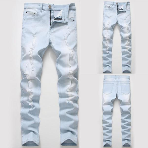 Новая мода мужская повседневная индивидуальность Slim Fit джинсовые брюки брюки pantalon hombre мужчины повседневные брюки мужские брюки высокого качества