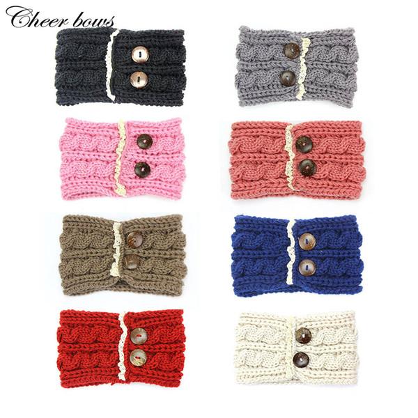women button warm winter fashion knit headband with lace wool knitted headwrap headband ear warmer hair accessories