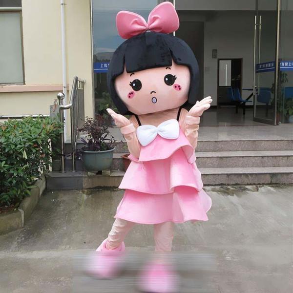 Linda Querida Brincalhão menina Andando Traje Da Mascote Dos Desenhos Animados Festa de Halloween Adulto Tamanho A +
