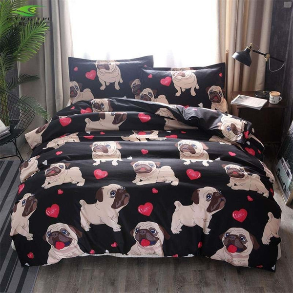 Black Bulldog/pug Printed Bedding Sets Heart Dog Duvet Cover Set 2/3pcs Bed Set Double Queen Comforter Quilt Cover Bed Linen