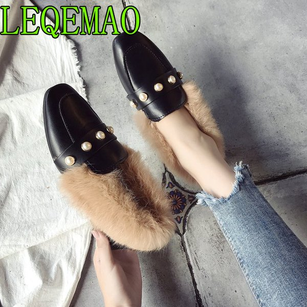 Dress Shoes Fur Mules Women 2019 Winter Outside Slippers New Handmade Pearls Ladies Warm Pu Leather Casual