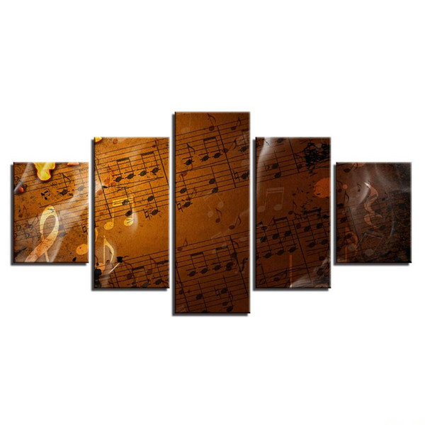 Not Frame Canvas HD Prints Pictures Wall Art For Living Room Home Decor 5 Pieces Retro Score Music Notes Painting Vintage Poster