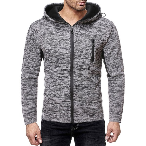 Feitong 2020 Solide Zipper Hoodies Männer Sweatshirt Splicing-Knopf Pullover Langarm-Kapuzen Fitness Sweatshirt Outdoor-Tops