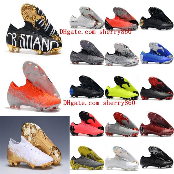2019 erkek futbol ayakkabıları Fury CR7 Mercurial Buharları XII VII Elite FG futbol cleats açık futbol çizmeler Mercurial Superfly VI 360 Elite FG