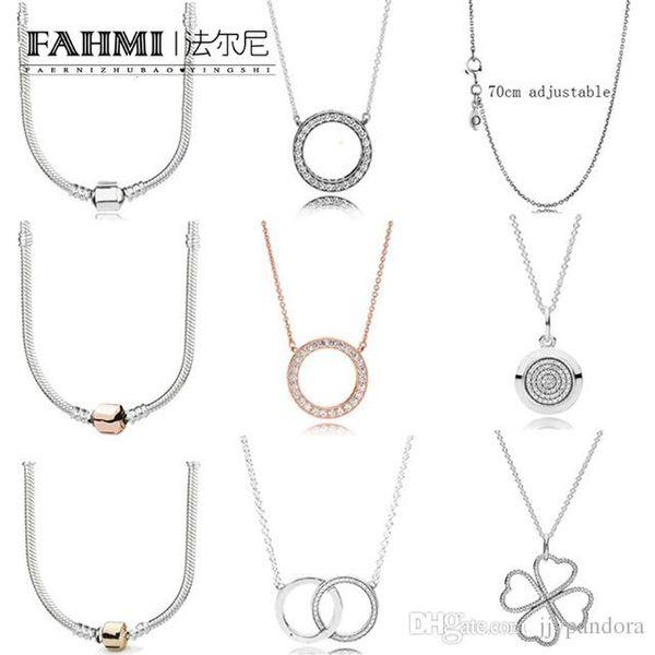 ed752ca68d55 FAHMI 100% Plata de Ley 925 moda colar básico oro zirconio encanto  clavícula cadena forma
