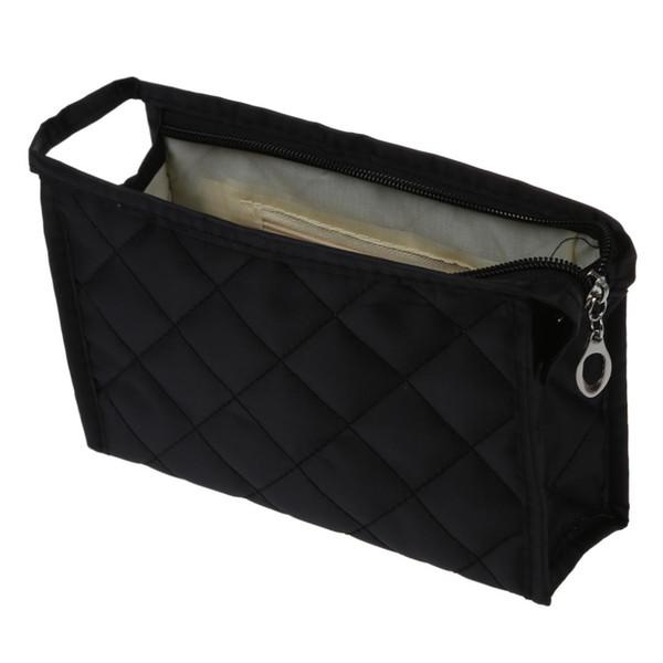 Black Grid Pattern Cosmetic Make Up Kleine Tasche mit Reißverschluss
