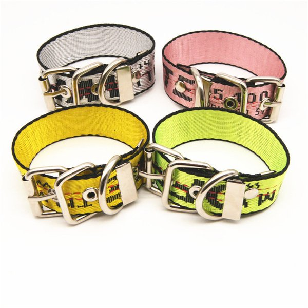 New Style Puppy Leashes Nylon High Qulity Dog Metal Buckle Collars Letter Adjustable Pet Leashes for Four Colors
