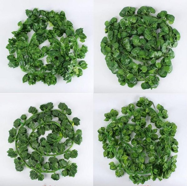 2.1M Long Artificial Plants Green Ivy Leaves Artificial Grape Vine Fake Parthenocissus Foliage Leaves Home Wedding Bar Decoration