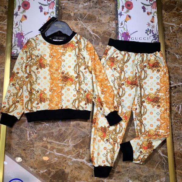 Big Boys Ropa para niños Niña Ropa de verano para niños Traje 2019 Nuevo patrón Motion Sweater Twinset And Fund Baby Set Child Tide 0719