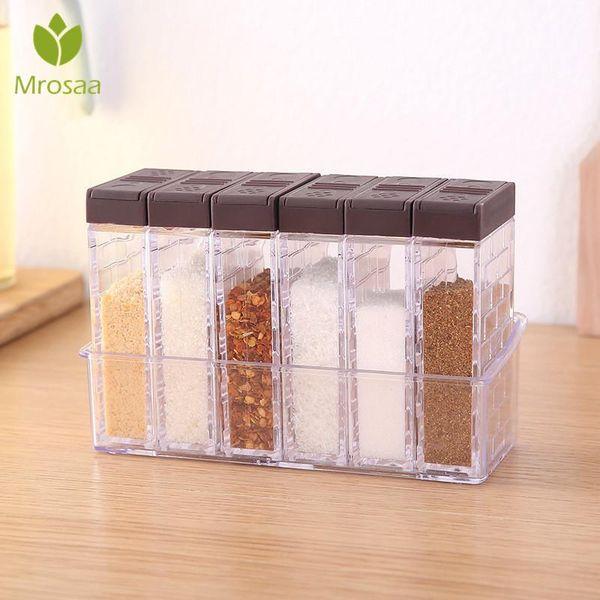 Bottiglie attrezzo della cucina condimento vasi scatole di plastica Spice coperchio può accessori di zucchero Livelli dell'organizzatore di immagazzinaggio Box Home Organizzazione