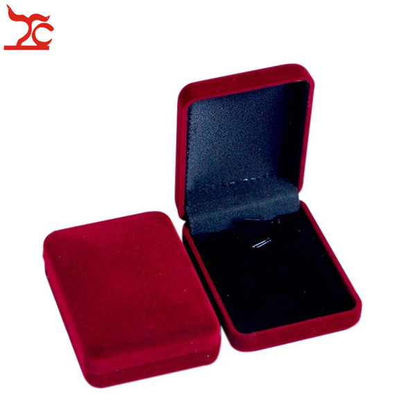 Wholesale 50Pcs/lot Red Velvet Jewelry Display Case Wedding Necklace Pendant Earring Organizer Storage Gift Boxes