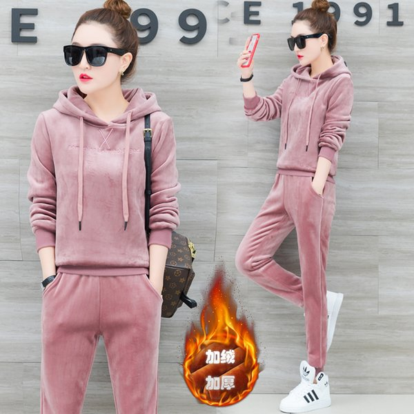 YICIYA Pink Velvet 2 piece set tracksuits women outfit sportswear fitness co-ord set plus size hooded top and pant suits clothes