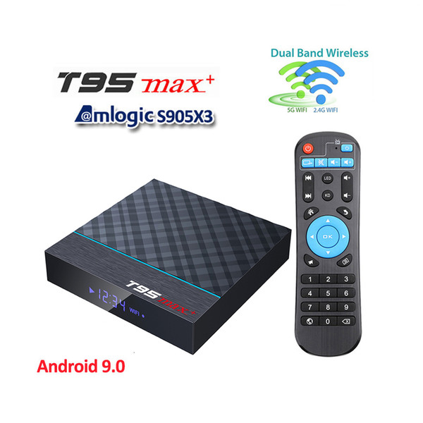 best selling T95 MAX Plus Android 9.0 TV Box Amlogic S905X3 2.4G 5GHz Wifi BT 8K Smart Set Top BOX VS Q plus