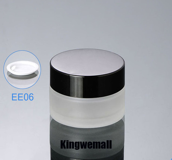 300pcs/lot glass 20ml Small Cosmetic Bottle mini 20g Empty Frosted cream jar Sample Packaging Jars with black lids