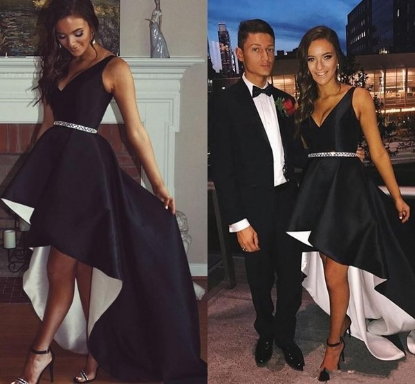 Black White High Low Satin Prom Dresses Robes De Soirée Party Dresses  Simple Formal Dresses Evening Gowns Plus Size Formal Dress For Women Gowns  For ...