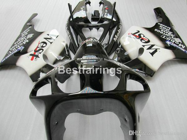 Hochwertiger Kunststoffverkleidungssatz für Kawasaki Ninja ZX7R 1996-2003 schwarz-weiße Verkleidungssätze ZX7R 96-03 TY66