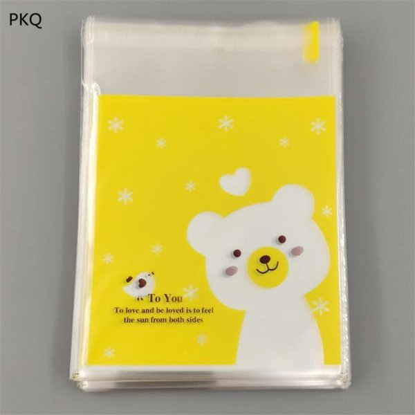 100pcs / lot Yeni Sevimli Karton Plastik Poşet Düğün Doğum Çerez Şeker Hediye Paketleme Poşet OPP Kendinden yapışkanlı Parti Kılıfı Favors