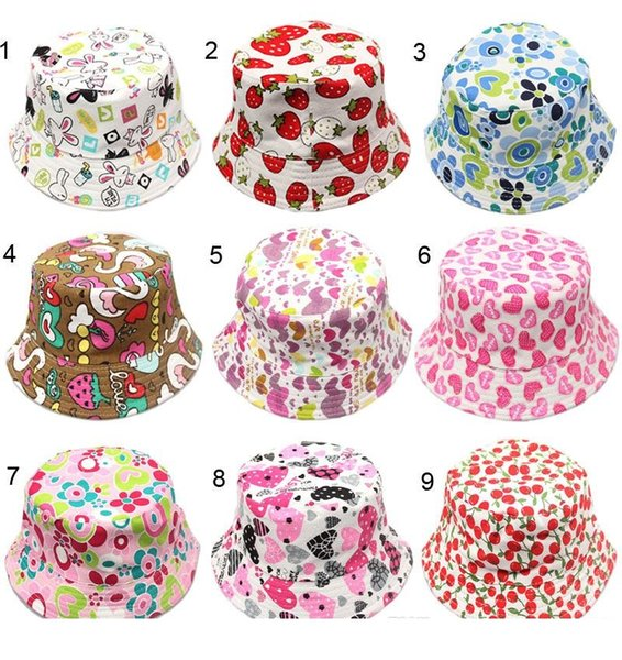 30 Colors Outdoor hat Children grid Bucket Hat Casual Flower Sun Printed Basin Canvas Topee kids fisherman caps Baby Beanie Caps D0743