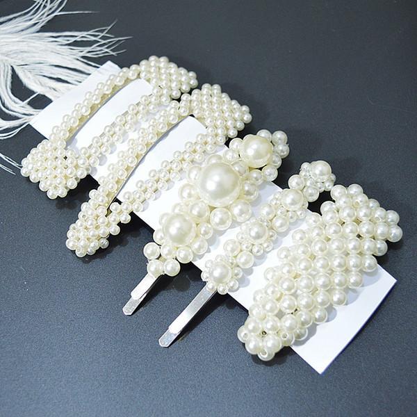 Hot 5 unids / set Corea Perla Barrettes Oro Plata Simulado Perla Horquilla Novia Horquillas Accesorios para el cabello Regalos para el Día de San Valentín