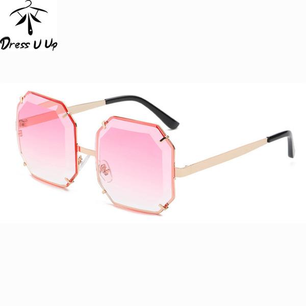 DRESSUUP Diamond Trimmi Sunglasses Women Brand Designer Rimeless Gradient Ocean Color Sun Glasses UV400 oculos de sol feminino