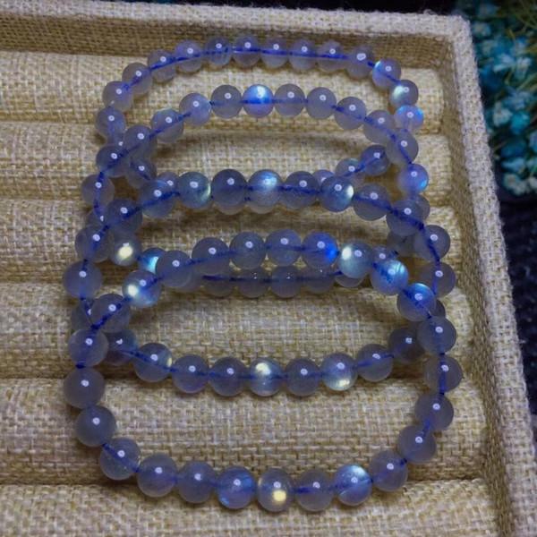 100% echte natürliche regenbogen labradorit armband edelstein kristall stretch runde perlenarmbänder für frauen 7mm drop shipping