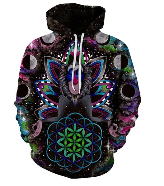 New 3D Printed Cute Animal Hoodies Trippy Mandala Chakra Art Sublimation Print Hoodies Men Single layer hat