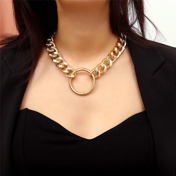 Vintage épais chaîne collier exagéré or argent cercle pendentif lien tour de cou collier déclaration couple bijoux de roche