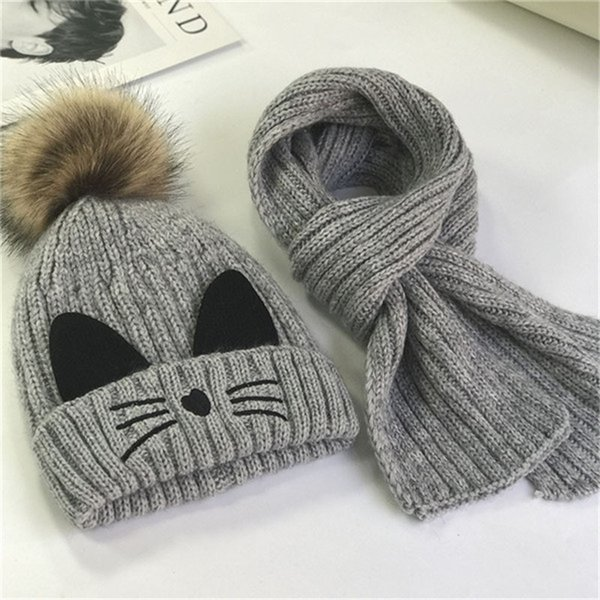 Children's hat collar autumn winter fur ball cat wool cap 2-6 years old baby Korean cute ear warm beanie scarf two-piece set