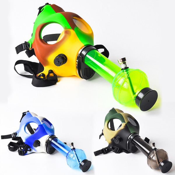 Gas Mask Bong with Acrylic Smoking Pipe Silicone Pipe Oil Rig Smoke Pipe Smoke Accessory glass bong for wholesale