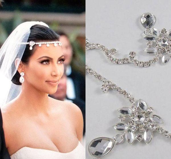Venda quente Kim Kardashia Imagens Reais Strass Bonito Brilhante De Cristal De Noiva Nupcial Do Cabelo Do Casamento Acessório de Peça de Jóias Tiaras CPA318