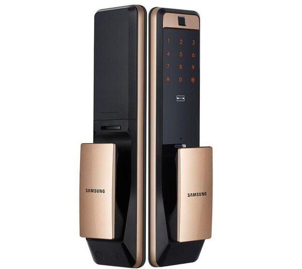 top popular New SAMSUNG SHP-DP609 Keyless Fingerprint PUSH PULL Two Way Digital Door Lock English Version Big Mortise Gold Color 2021