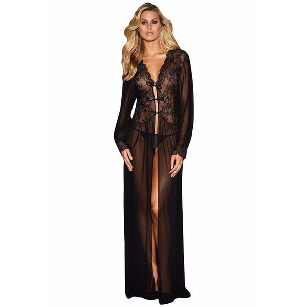 Black See Through Sexy Lingerie Baby Doll Sheer Long Sleeve Lace Long Dress Sleepwear Robe With Thong Vestidos Sexy Eroticos Y19070302