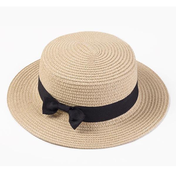 Women boater hat hat Female Summer hats for kids Beach Sun Brand Casual Lady Bowknot Flat Straw Fedora Women Child Cap panama D19011106