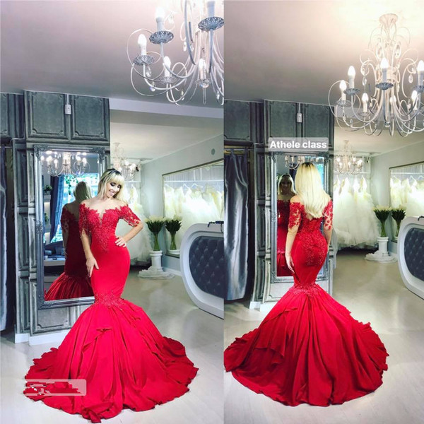 Sexy Mermaid Red Long Sleeve Elegant Evening Formal Dresses 2018 African Red Carpet Celebrity Dresses Prom Gown