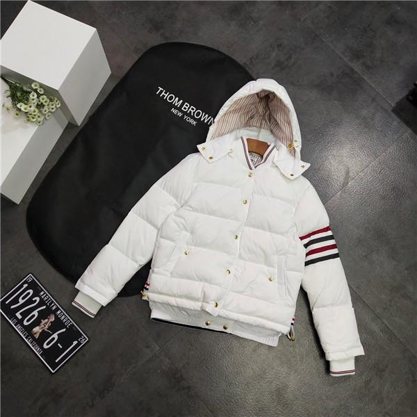 19FW design luxueux marques blanc Thom Browne TB Doudoune Sweats à capuche Homme Femme Streetwear Sweat chemises en plein air