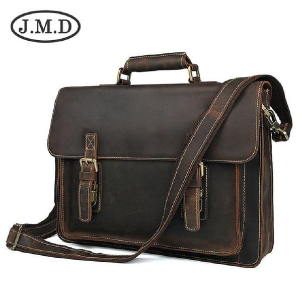 J.M.D Genuine Leather Briefcase 15.5 Inch Laptop Shoulder Messenger Bag