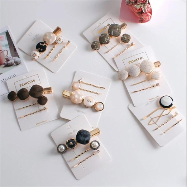 36PCS/12Sets Vintage Fashion Korean Women Imitiation Pearl Hair Clip Button Hairband Bobby Pin acrylic Barrette Hairpin Accessories New