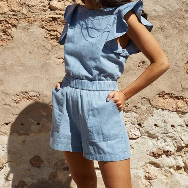 Casual Lady Womens Playsuit O-Neck Slim Solid Bodysuit Party Jumpsuit Summer Ruffles Jean Blue Romper Short Trousers Clubwear