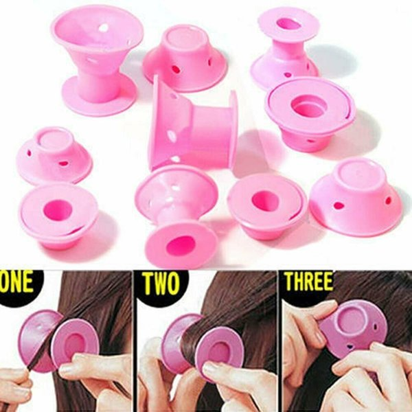 Soft Rubber Magic Hair Curlers Hair Style Roller Hairstyle Soft Care DIY Peco Roll Salon Soft Silicone Pink Color Hair Roller 02