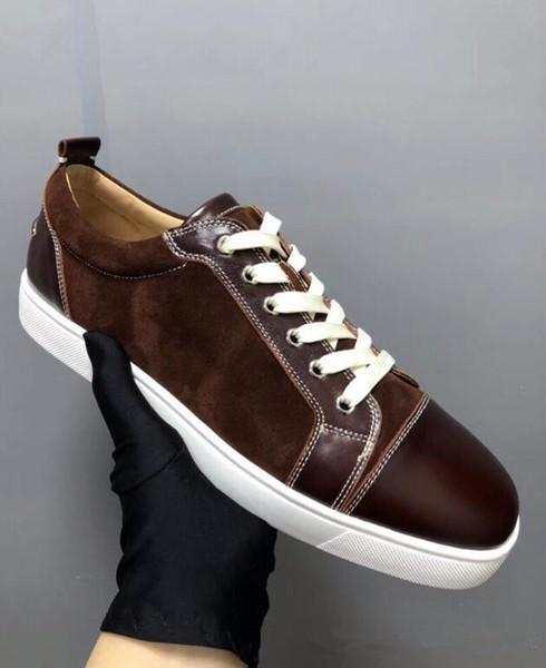 Calidad perfecta Original a estrenar Low-top de cuero genuino zapatos inferiores rojos para los zapatos de las zapatillas de deporte del ocio de los entrenadores de la comodidad EU35-46